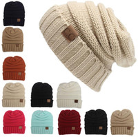 Wholesale 12 Color Men Women Knitted Hat CC Trendy Winter Warm Oversized Chunky Soft Cable Knit Slouchy Beanie Crochet Hats PPA454