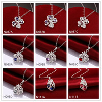 Cheap fashion women's gemstone 925 silver Necklaces Pendant 10 pieces a lot mixed style,sterling silver Pendant Necklaces EMN3