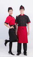 Wholesale Western Restaurant Chef and Baker short sleeved unisex medium thickness cotton uniform
