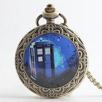 Wholesale Large size Doctor who Pocket Watches Bronze DW Dr Who locket pendant necklaces Fob quartz Watches men women movie jewelry gift