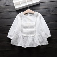 Wholesale Crochet Baby Blouse - 2016 Baby Girs Crochet Lace Shirts Kids Girls Princess Cotton Blouse Girl Autumn Hallow Out Jumper Tops Babies Clothing