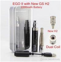 Cheap Wholesale-GS EGO II Dual Coil H2 Mega Kit 2200mAh EGO 2 Battery ego battery e cigarette battery GS H2 atomizer ego e cig