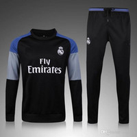 Wholesale 2016 Real Madrid black ash shoulder sweater tracksuit Sportswear training Suits men s Clothes Trackring suits Male Hoodies mix