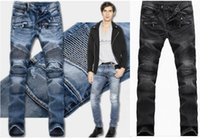 Wholesale 2 COLORS Men s foreign trade blue jeans pants Balmain motorcycle pants men washing to do the old fold jeans