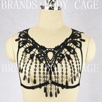 Cheap 2016 new fashion Lace harness black sexy bondage lingerie body Harajuku Gothic harness cage bra fetish wear body harness bra harness cage