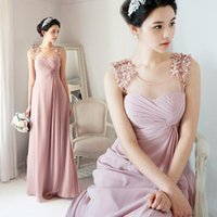 Wholesale Luxury Pink Wedding Dress A Line O Neck Lace Wedding Dresses Cap Sleeves Tulle Appliques Elegant Bridal Gowns by DHL
