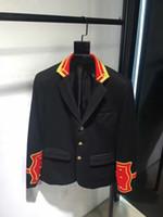 Wholesale 2016 winter fashion brand New men s coat detail jacket Unique style Embroidery golden button business suit Cowboy shirt men Long sleeve