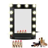 artists table - Hollywood Lighted metal aluminum aluminium table desktop wall mounted cosmetic makeup artist salon vanity mirror with lights
