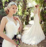 Wholesale Charming Long Lace Mermaid Wedding Dresses Sexy V Neck Sheer Back Beads Applique Bridal Gowns Vestidos De Noiva Court Train