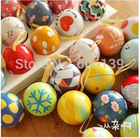 american candy lot - Lovely creative European style circular multicolor surprise eggs tin ball that happiness card storage boxes