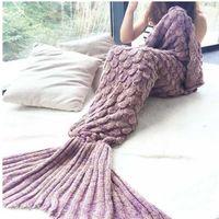Wholesale DHL free Adult Handmade Mermaid Tail Blankets Crochet Mermaid Blanket Mermaid Tail Sleeping Bags Cocoon Mattress Knit Sofa Blankets X90cm
