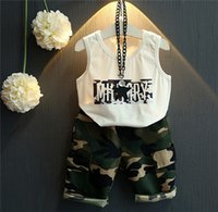 baby army outfit - 2016 Children Kids Girls Baby Summer Spring Short Pants Set Outfits Sleeveless White Top Army Green Pants Summer Boys Girls Set Set A