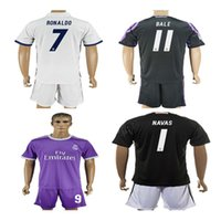 Wholesale Plus Size XL XL Top Real madrid soccer Jerseys kits Set Uniforms RONALDO Home White Away Purple Black JAMES BALE RAMOS Spain