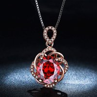 Cheap Red Crystal Vintage Necklace 18K Rose Gold Plated CZ Diamond Jewelry Pendents Necklaces For Women Wedding Party Accessories N010