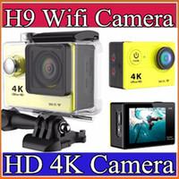 Wholesale Action camera EKEN H9 Ultra HD K WiFi P fps LCD D lens Helmet Cam underwater waterproof go pro camera K XJ