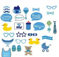 baby booth - 30 set Baby Shower Photo Booth Photobooth Props On A Stick It s a Boy st Birthday DIY Kits Fun Party Decoration Centerpieces