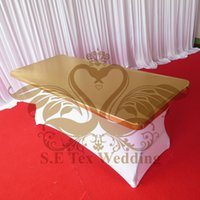 Wholesale Gold Bronzing Top Lycra Spandex Table Cover Table Cloth For Wedding