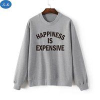 active happiness - Sea mao Fashion Harajuku Happiness IS Expensive Letters Printed Tracksuits Hoodies Harajuku Pullovers Grey Women Sweatshirt