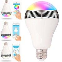 Wholesale Wireless Smart Music Audio Speaker LED RGB Color Bulb Light Lamps E27 Colors Lamp Bluetooth Smart LED Light Bulb DHL Free
