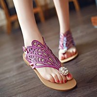 beaded slippers - 2016 women s fashion flat slippers hollow diamond lace beaded thong sandals woman female summer shoes