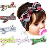 Wholesale Baby Girls Headbands Bows DIY Bunny Ear Cotton Head Band Kids Floral Turban Newborn Knot Elastic Hairband Children Hair Accessories KHA243