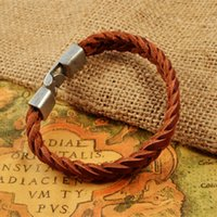 bes sets - ashion Jewelry Bracelets Braided Stainless Steel Bracelets For Men Punk Clasp Genuine Cow Leather Wrap Bracelets Bangles Jewelry Bes