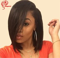Wholesale 8A Virgin Human Hair Short Bob Lace Front Wigs For Black Women Glueless Lace Front Bob Wig With Side Bangs Full Lace Short Bob Wigs