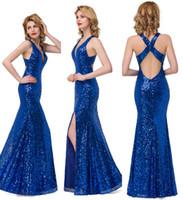 Wholesale Sparkling Royal Blue Mermaid Prom Dresses Long Formal Evening Gowns Real Image V Neck Split Side Sexy Criss Cross Back Dresses BZP0897