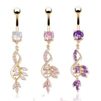 Wholesale Fashion Leaves Crystal Rhinestone Belly Button Ring Dangle Navel Body Piercings