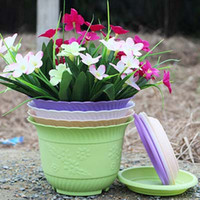 Wholesale 5pcs Gardening flower pot with pallet High quality plastic Balcony Garden Plant Planter wave sidebands