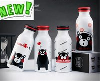 beverage cup lid - New Kumamoto Bear Printing Water Bottles Portable Double layer Large Capacity Beverage Juice Cup ml ml Children Student Fashion Cup