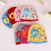 alphabet knitting - 2016 Cute Warm Baby Hat Knitted Cotton Beanie Cap for Baby Toddler Boy and Girls Double layer cartoon alphabet Newborn Hats Caps JF