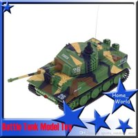 Wholesale 2 Channel Radio Control Battle Tank Model Toy Kid Military Remote Control Gift Party Fun Child Bauble Green Yellow Black MHz