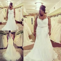 Wholesale 2016 Plus Size Wedding Dresses for Brides with Curves Sale Cheap Custom Made Curvy Bridal Gowns Sheer Straps Beaded Waist Vestidos De Novia
