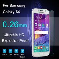 Écrans pour galaxie Prix-Pour Galaxy S6 à l'épreuve de l'explosion en verre trempé 2.5D 0.26mm LCD Clear Screen Protector pour Samsung Galaxy S6 Livraison gratuite