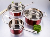 Wholesale Classic Stainless Steel Set Kitchen Ware Sets Tirclad Bottom Glass Cover Red Color Oven and Indution Suitable