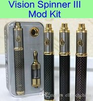 Wholesale VisionSpinner III ecig mod kit mAh carbon electronic cigarette VisionSpinner iii battery and protank ii atomizer