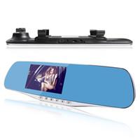 Promociones Nuevo Dual Lens coche DVR Full HD 1080p 4.3inch Rearview Mirror coche de la cámara de coche de aparcamiento Video Recorder Night Vision