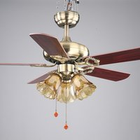 Wholesale inch European style retro ceiling fan lamp bedroom living room dining room fan light fan bronze V V