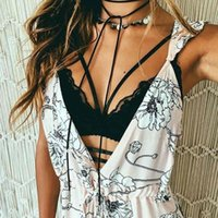 Wholesale 016 New Ladies Sexy Sleeveless Solid Color Strappy Lace Push Up Bralette Bralet Crop Vest Tank Bustier Bra