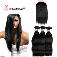 Wholesale 7A Grade Straight Hair With Closure Indian Virgin Hair Human Hair Closure Free Middle Part End No Tangle