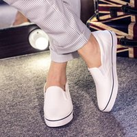 Wholesale Spring and Autumn Canvas New Brand Skateboard Shoes Men Flat Shoes Slip On Casual Flat Heels Black White T011