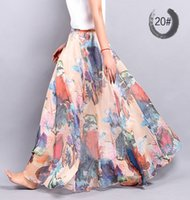 Wholesale New Fashion Women Skirts Chiffon Pleated Skirt Beach Print long Skirt Europe Americas new spring and summer