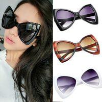al por mayor resina de vidrio uv-2016 de las nuevas mujeres del Bowknot de las gafas de sol estilo europea del marco de la lente grande Eyewear Sombras Vidrios anti-UV de la resina y Plásticos