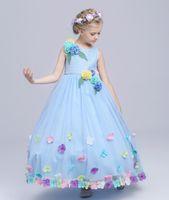 Wholesale In Stock Baby Blue Flowers Jewel In Stock Flower Girl Dresses Size SF811010