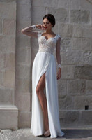 beach portrait dresses - Summer Beach Wedding Dresses Lace Bridal Gowns Appliques Sheer Illusion Long Sleeves Split Chiffon Wedding Gowns Cheap