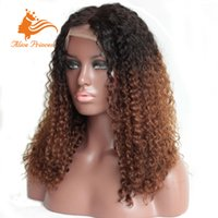 Wholesale Brazilian Human Hair Full Lace Wigs b Tone Ombre Wig With Middle Popular Kinky Curly Wigs For Black Women