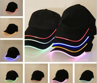 adjustable stage - Led Lighting Baseball Cap Hats Summer Fiber Optic Luminous Multicolour Cotton Led Baseball Cap Men And Women Stage performance hat
