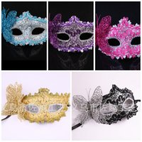 best horror masks - Hollow Butterfly Lace Side Edge Party Masks for Women Italy Halloween Half Mardi Gras Venetian Mask Best Quality zy