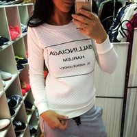 argyle pullover fashion - women sweatshirts crop tops woman clothes set autum S XL increase rong long sleeve letter printing round black white color tracksuit